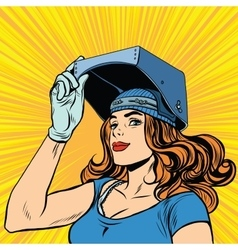 retro girl welder job construction vector image vector image