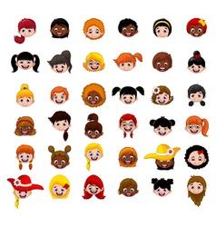 Set of cartoon childs head girls vector image vector image