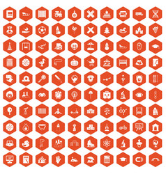 100 kids icons hexagon orange vector