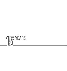 15 years anniversary or birthday linear outline vector image