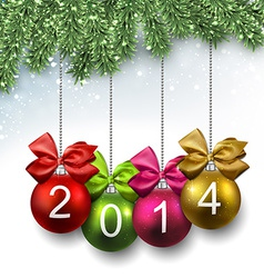 2014 christmas balls on fir branches vector image