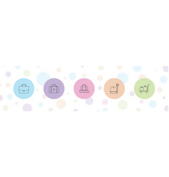 5 suitcase icons vector