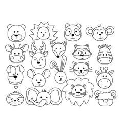 A set animal heads in childish cartoon style vector