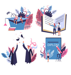 Academic hat and graduated students school vector