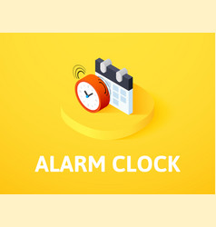 alarm clock isometric icon isolated on color vector image