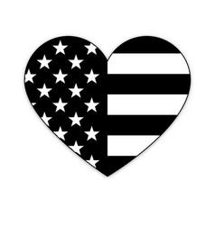 american flag in heart shape black white vector image