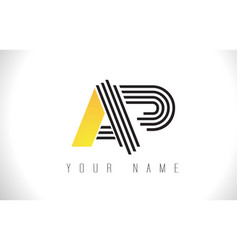 Ap black lines letter logo creative line letters vector