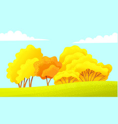 autumn countryside yellow trees field blue vector image