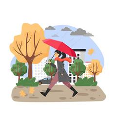 Autumn season young girl under umbrella walking vector