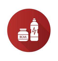 Bcaa supplement flat design long shadow glyph icon vector