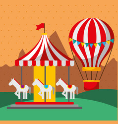 carousel and hot air balloon carnival fun fair vector image