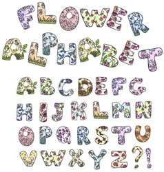 cartoon flower alphabet vector image