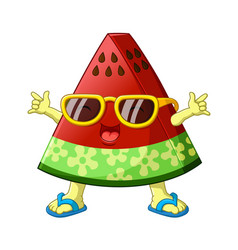 cartoon watermelon in summer vector image