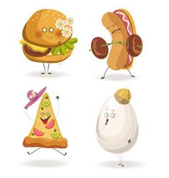 Cartooon fast food characters with cheerful human vector