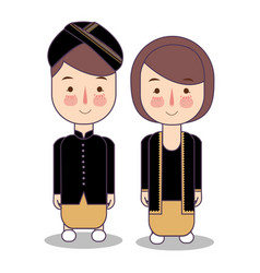 Central java yogyakarta indonesia wedding couple vector