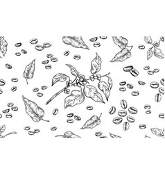 coffee pattern hand drawn seamless texture of vector image
