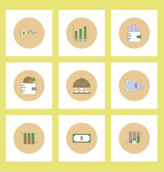Collection of icons in flat style world gold price vector