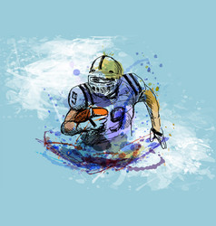 Colorful sketch player of american football vector