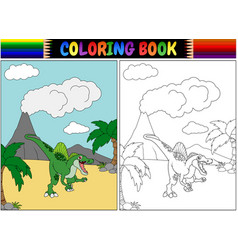 coloring book with spinosaurus cartoon vector image