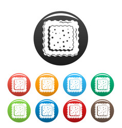 cracked biscuit icons set color vector image