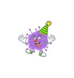 Cute and funny clown coronavirus influenza vector