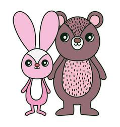 Cute bear and rabbit toys decoration vector