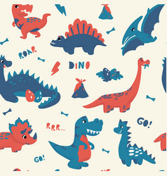 cute dinosaur pattern seamless texture with vector image