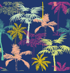 Dark blue colorful geometric palm trees vector