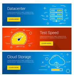Datacenter test speed cloud storage line art flat vector