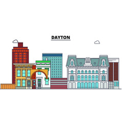 Dayton united states flat landmarks vector