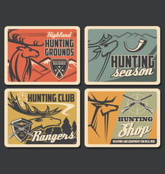 Deers with targets hunter guns hunting sport vector
