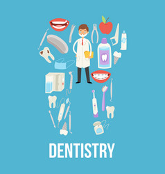 Dental medical healthcare tools vector