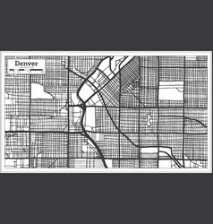 Denver usa city map in retro style outline map vector