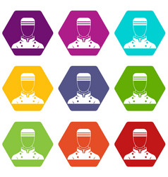 Doorman icon set color hexahedron vector