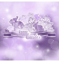 Easter background with ribbon vector