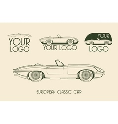 European classic sports car silhouettes vector image