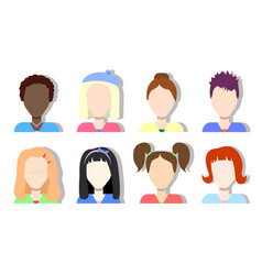 Faceless avatar icons girls and women vector