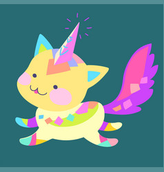 fantasy cat unicorn vector image
