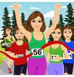Female athlete runner winning marathon vector