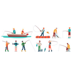 Fisherman fisher in boat with spinning sportsman vector