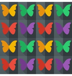 Flat style seamless pattern with butterflies vector image