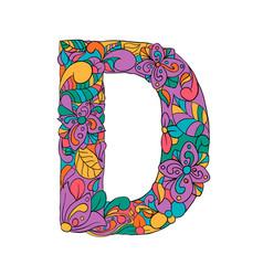 floral d letter outline vector image
