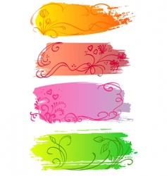 flower and heart banners vector image