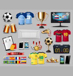 Football set collection realistic mock up vector