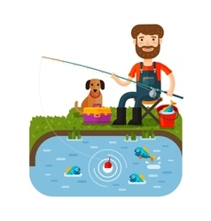 Fun fisherman catches fish Fishing rod Cartoon vector image vector image