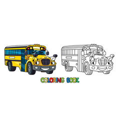 Funny small school bus with eyes coloring book vector