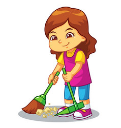 Girl clean up garbage with broom and dust pan vector