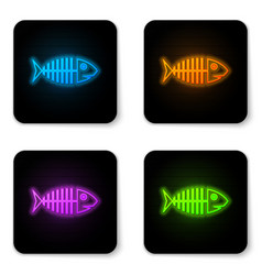 glowing neon fish skeleton icon isolated on white vector image