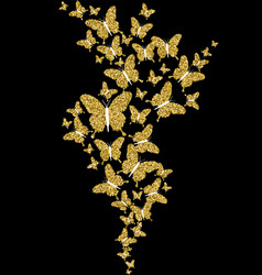 Gold glitter spring nature butterfly vector
