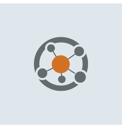 Gray-orange Network Round Icon vector